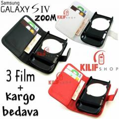 Galaxy S4 Zoom Flip Cover C�zdan K�l�f + 3 Film