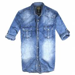 BIG BLUE SLIM FIT �ZEL YIKAMA KOT G�MLEK