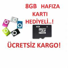 MP3 PLAYER-8 GB HAFIZA KARTI HED�YEL�  8 RENK!!!