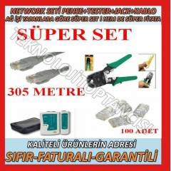 NETWORK SET 305 MT CAT5E+PENSE+TESTER+RJ45 JACK