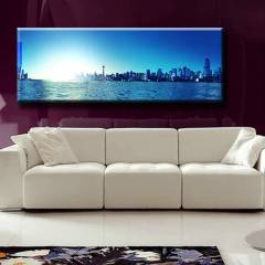 150X44cm CANVAS TABLO MAV� SEHRE GECE GEL�YOR