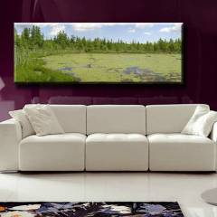 150X44cm CANVAS TABLO YE��L G�L VE A�A�LAR