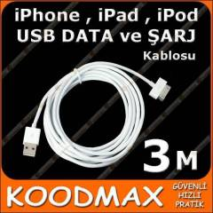3 metre USB iPhone iPad iPod Data �arj Kablosu