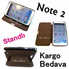 Galaxy Note 2 Standl� L�x Flip Cover K�l�f +Film
