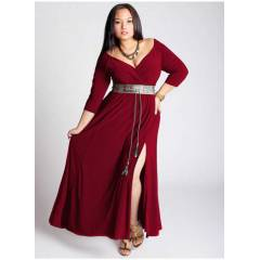 Mangolino Dress MD57 Abiye Elbise Bordo