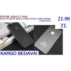 iPhone 4 S KILIF 2ADET ULTRA �NCE 0.2mm KAPAK ++