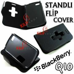 BlackBerry Q10 Flip Cover Standl� K�l�f +3Film