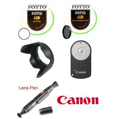 Canon 18-55mm Uv +Cpl Filtre +Parasoley+Rc-6+Pen