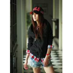 JAPON STYLE �AL YAKA FERMUARLI BORDO-SIYAH SWEAT