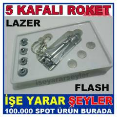 ROKET MODEL 5 KAFALI LAZER POINTER LED FLA��R