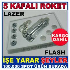 ROKET MODEL 5 KAFALI LAZER POINTER LED FLA��R KD