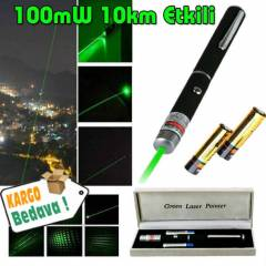 Ye�il Lazer Pointer 100mW 10km Etkili + Piller
