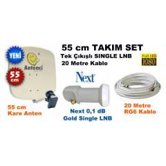 55cm �anak Set + Next Single LNB + 20mt Kablo