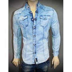 barcha slim fit �ce wash mavi denim g�mlek