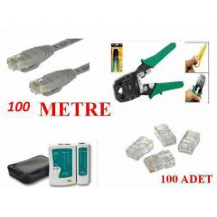 NETWORK SET 100 MT CAT5E+PENSE+TESTER+RJ45 JACK