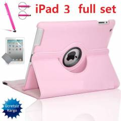 iPad 2 STANDLI KILIF 360� Case Full Set Pembe