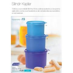 TUPPERWARE SAKLAMA KABI S�L�ND�R KAPLAR 3L� SET