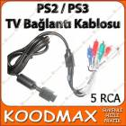 Playstation 3 PS3 TV AV Kompenent Kablo 5 RCA