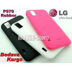 LG P970 Optimus Black Slim Rubber K�l�f+3Sticker