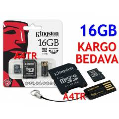 KINGSTON 16GB MICROSDHC HAFIZA KARTI+ 2 AKSESUAR