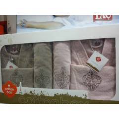 COTTON BOX BORNOZ TAKIMLARI A�LE SET� %100COTTON
