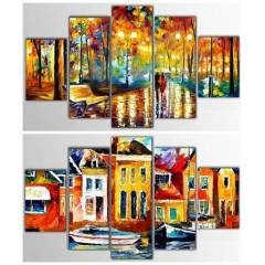 5 Par�a Afremov Kanvas Tablolar� - 100x60