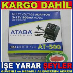 ATABA AT-500 AYARLI ADAPT�R 500mA 12W, 0-12V