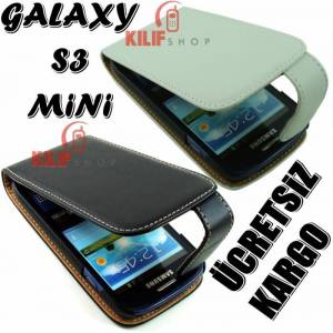 Galaxy S3 Mini i8190 Flip Kapakl� K�l�f +3Film