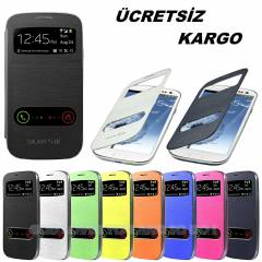 SAMSUNG GALAXY S3 KILIF FLiP COVER CAMLI MODEL