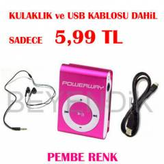 PEMBE MP3 M�Z�K �ALAR POWERWAY KULAKLIKLI+ USB