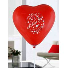 I LOVE YOU Bask�l� K�rm�z� Kalp Balon 50 ADET
