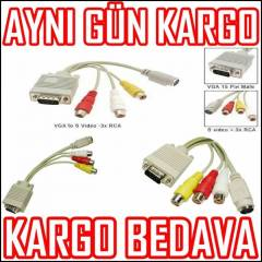 VGA TO 3RCA S-VIDEO KABLOSU