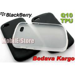 BlackBerry Q10 Soft Silikon TPU K�l�f+3xSticker