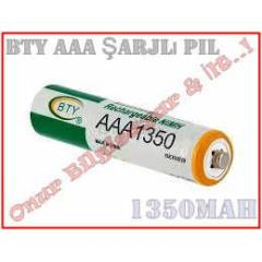 Ni-MH BTY AAA 1350 mAh �arjl� ince Pil 1 Adet