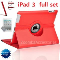 iPad 3 STANDLI KILIF 360� Deri K�l�f Full Set