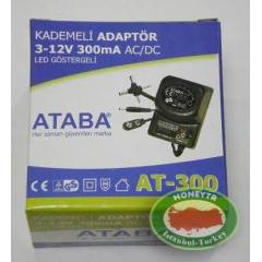 ATABA AT-300 300mA 8.7W, 0-12V Ayarl� Adapt�r