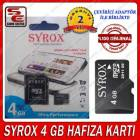 4 GB M�CRO Sd Card Haf�za Kart� Syrox Adapt�rl�