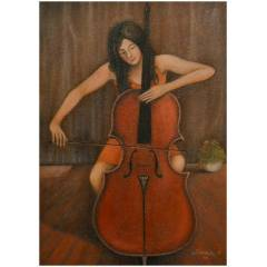 Violonsel �alan k�z  50x70    YA�LI BOYA TABLO