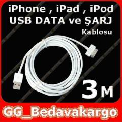 3 metre USB iPhone iPad 1 2 3 Data �arj Kablosu