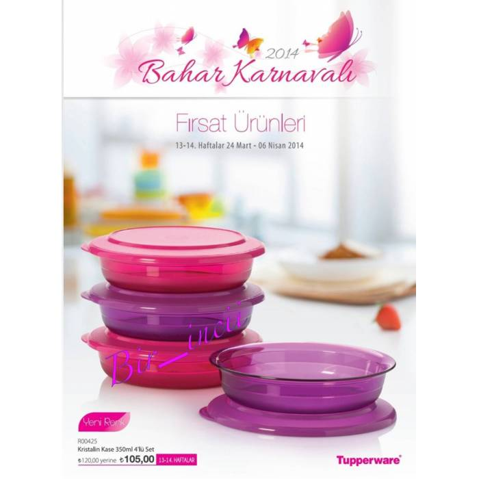 TUPPERWARE KR�STAL�N KASE 350 ML 4 L� SET