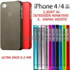 iPHONE 4-4S KILIF 0.2MM SL�M  ULTRA �NCE 5 RENK