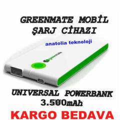 GREENMATE POWER BANK MOB�L �ARJ C�HAZI 3.500 mAh