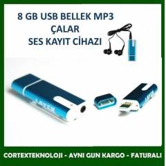 8 GB USB BELLEK MP3 �ALAR SES KAYIT C�HAZI