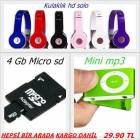 MP3+KULAKLIK HD SOLO+4 GB MICRO SD �OK FIYATA...