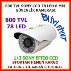 G�VENL�K KAMERASI 600 TVL 78 LED 6 MM SONY EFFIO
