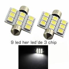 ModaCar 36 MM 9 Led 27 Chip li  Sofit LED 5000K