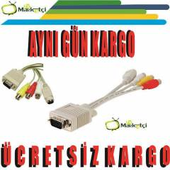 VGA TO 3 RCA S-VIDEO Vga Lale - PC to TV Kablo