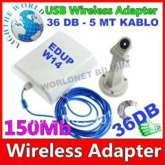 WIRELESS ADAPT�R ALICI EDUP 36DB� UZUN MENZ�L