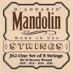 Daddario J62 10SET Mandolin Tel Set 8020 Bronze
