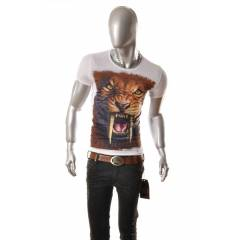 3 D ASLAN  BASKILI T���RT ERKEK SH�RT NEW